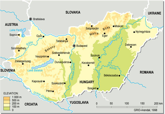 Hungary, topographic map | Hungary is located in Central Eur… | Flickr