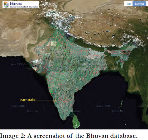 A screenshot of the Bhuvan database