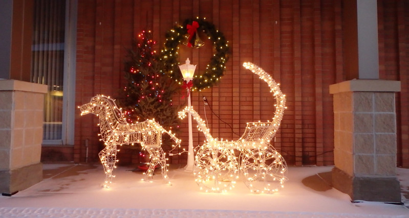 reindeer and sleigh made of white lights