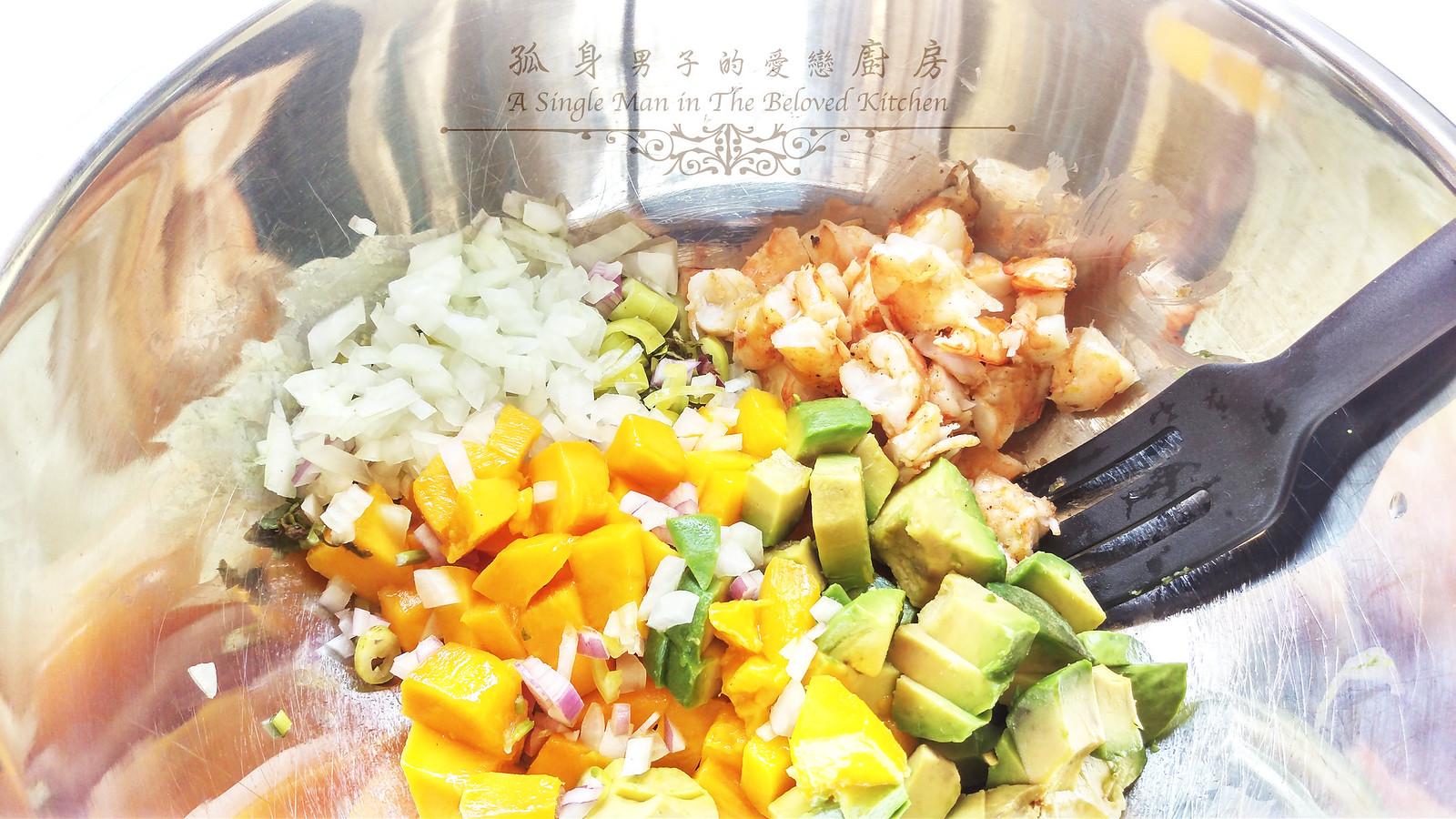 孤身廚房-墨西哥烤紅爐蝦酪梨芒果莎莎醬塔可(下)-烤紅爐蝦酪梨芒果莎莎醬8