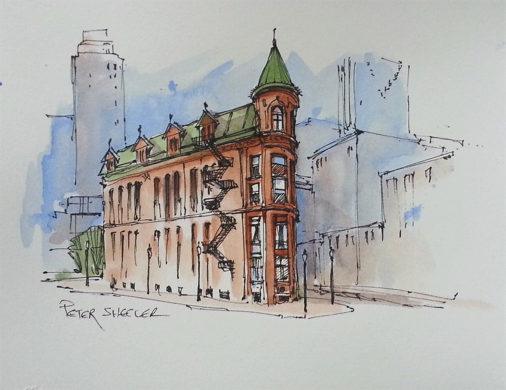 Line Art Watercolor : Quot flatiron building line and wash watercolor video with