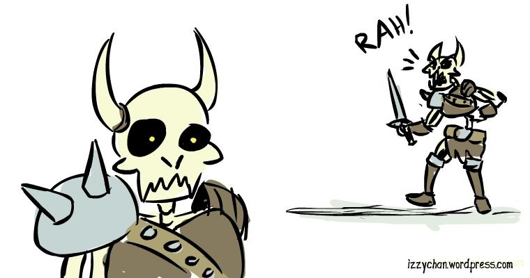 rah skeleton fighter with horns