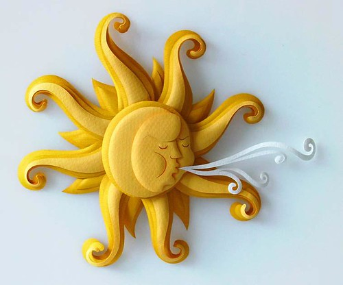 Paper Sculpture Sun Illustration - Patricia Lima