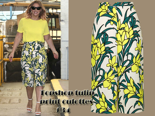 Culottes trend for summer: Kimberley Walsh in Topshop tulip print culottes & yellow top