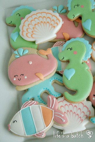 """Under the Sea""-themed cookies, made to custom-match nursery bedding from Carter's."