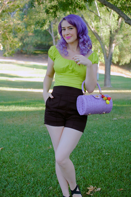 Pinup Girl Clothing Chartreuse Peasant top Laura Byrnes High Waist shorts
