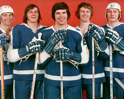 Inge Hammarstrom, Bob Neely, Ian Turnbull, Lanny McDonald, and Borje Salming, Toronto Maple Leafs
