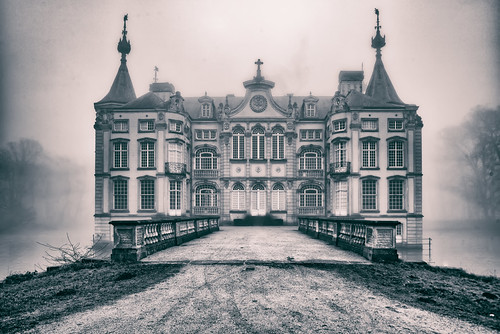 Old Poeke Castle on a foggy afternoon