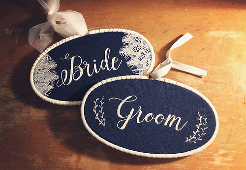 Finished Bride and Groom hoops! | by floresita