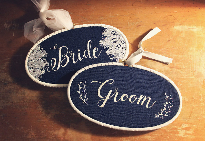 Finished Bride and Groom hoops!