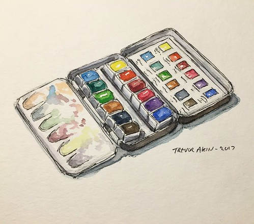 My Sennelier watercolor set in watercolor.