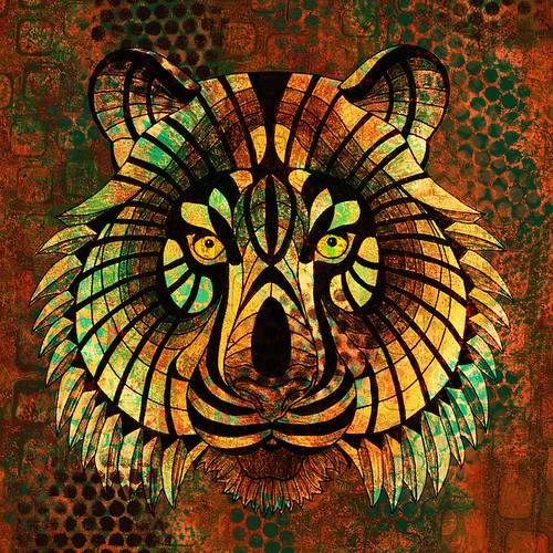 Digital collage with tiger
