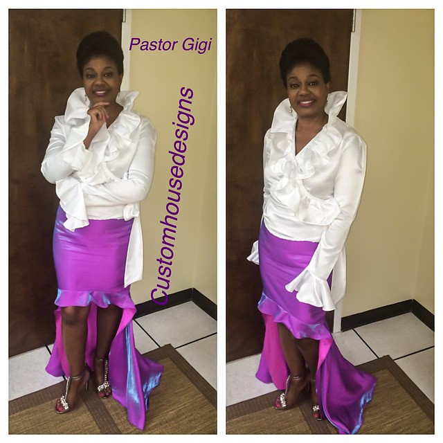 "Another Satisfied Customer, Pastor Gigi wearing  #Customhousedesigns original ""First Lady Collection"".  Flare and Flounce Blouse and Fitted Hi-lo Ruffled Train Skirt. #Customhousedesigns  #Itsmelaniedarling #polishedbou  #customsewing #fashion #firstladyc"