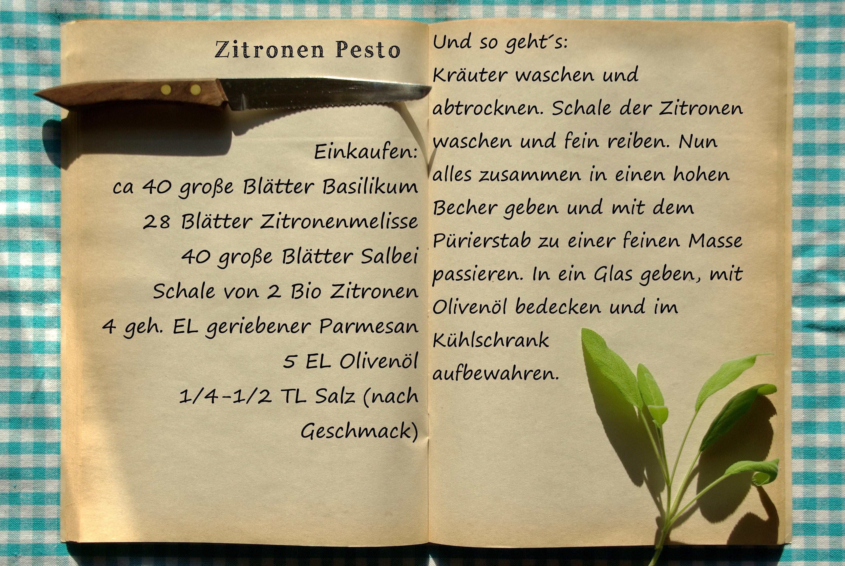 Einkaufszettel Zitronenpesto by Glasgeflüster