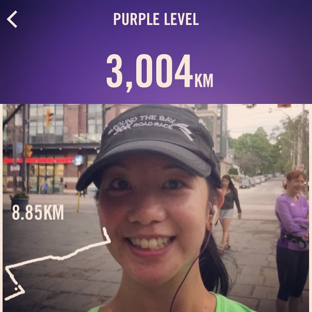 Mei's runfie and the 3,000 km milestone on her Nike app.