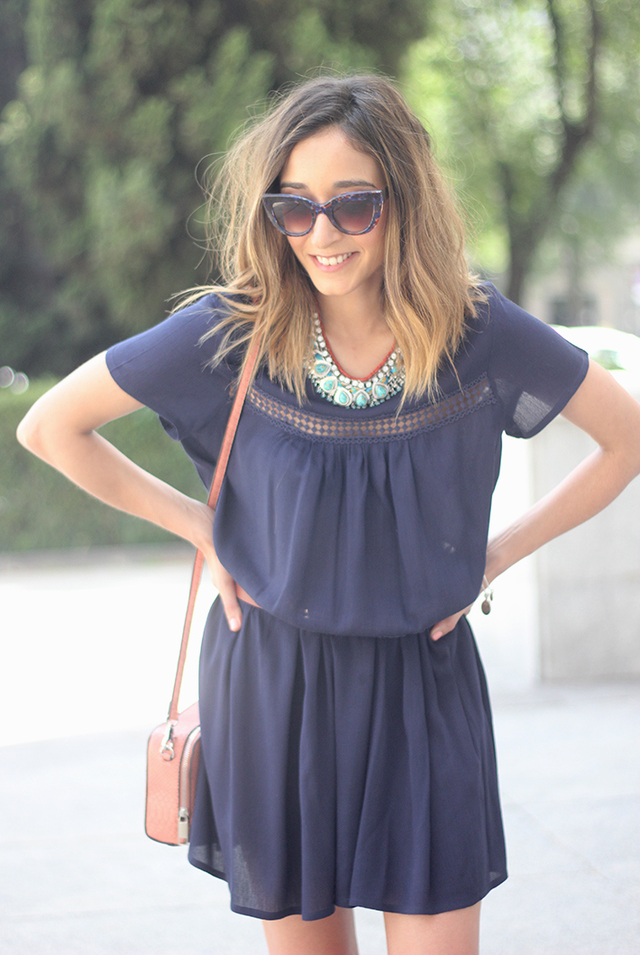 Blue dress Sheinside Wedges summer outfit12