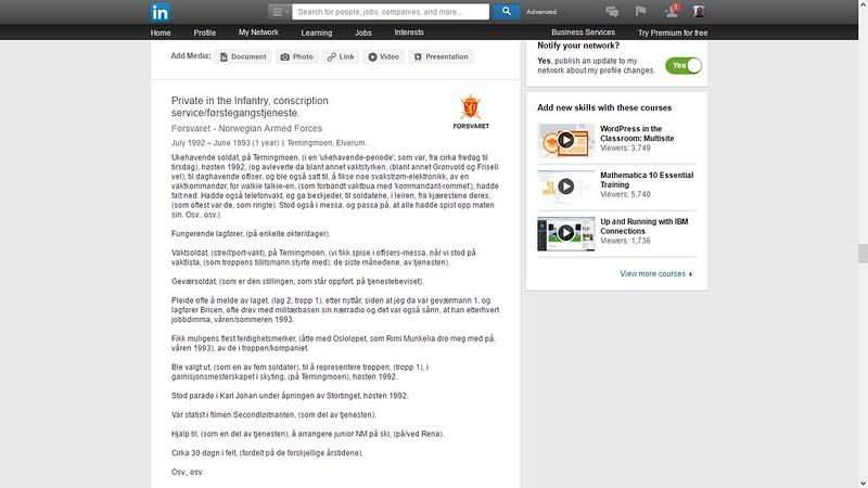 oppdaterte mer om førstegangstjenesten på linkedin