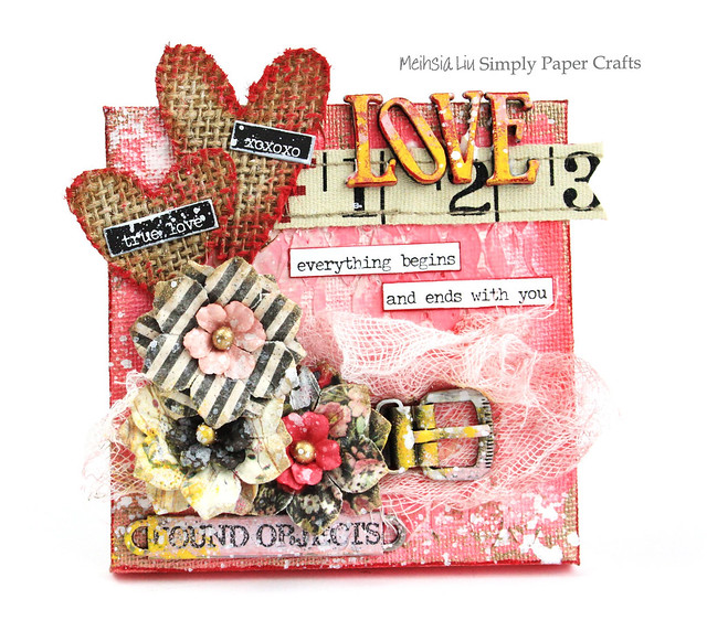 Meihsia Liu Simply Paper Crafts Mixed Media Mini Canvas Love Valentines Simon Says Stamp Monday Challenge Tim Holtz Prima Flowers