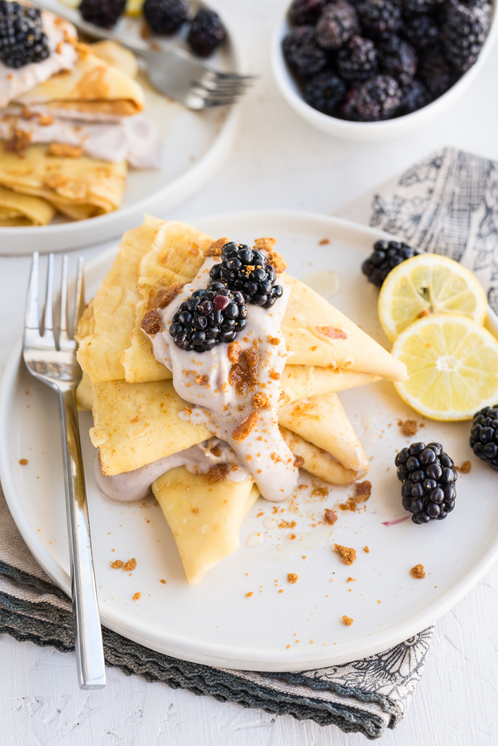 Lemon Ginger Crepes with Blackberry Whipped Cream www.pineappleandcoconut.com