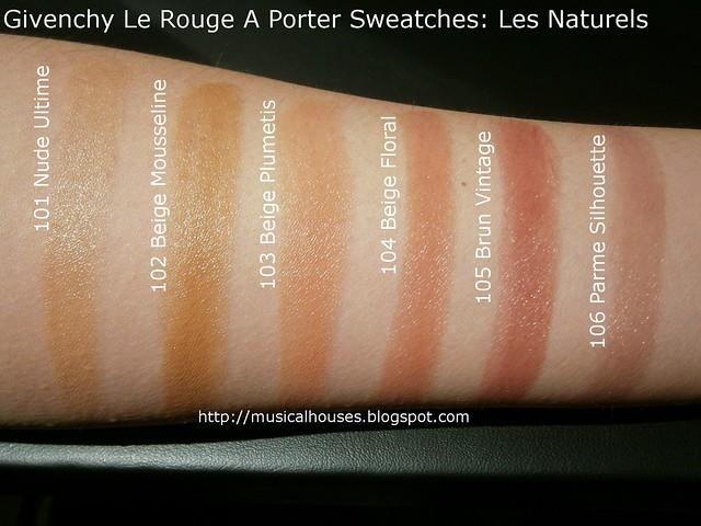 Givenchy Le Rouge A Porter Lipstick Swatches Les Naturels