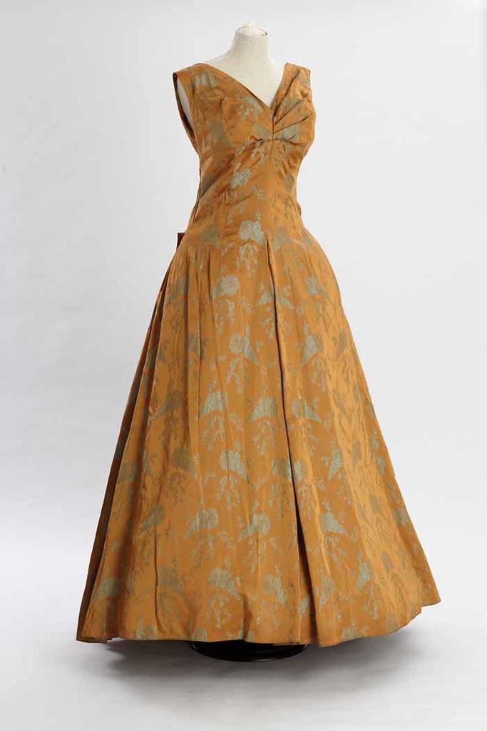 Mustard evening dress   1950s full length evening dress in a…   Flickr