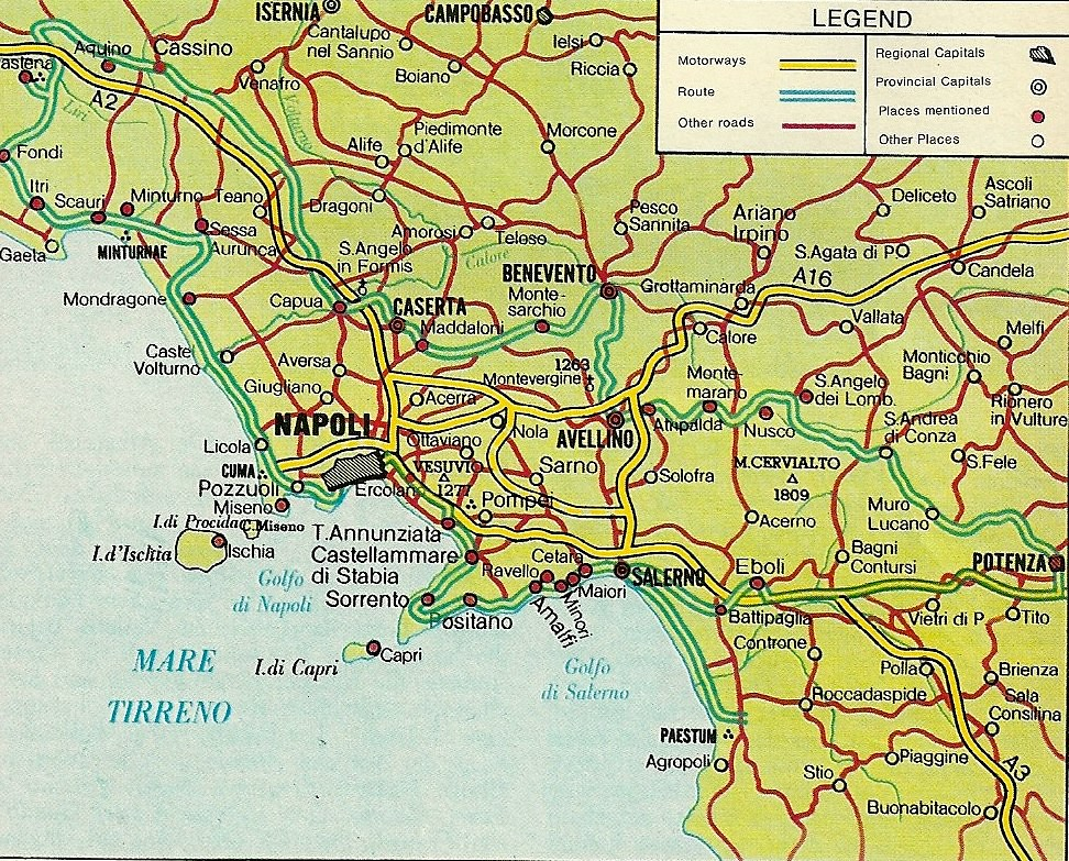 Map of Naples Area, Undated   Much of Italy's Region of ...