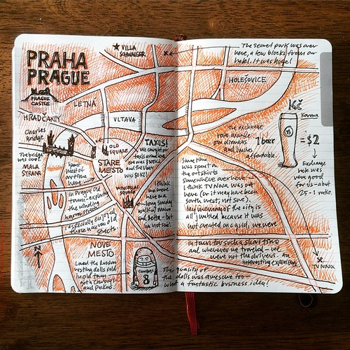 Finished my Praha/Prague map page in the Moleskine Voyageuer - it's fun experimenting w/ two inks and multiple levels of detail.