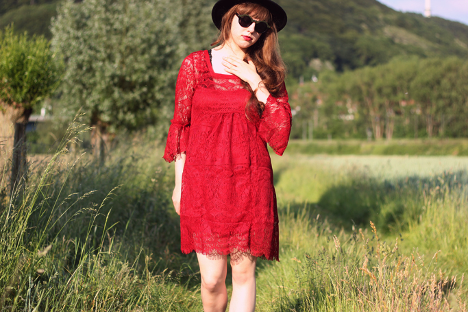 Red lace crochet dress - hippie bohemian vintage dress crochet