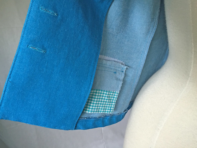 blue denim jacket, inside view of pocket