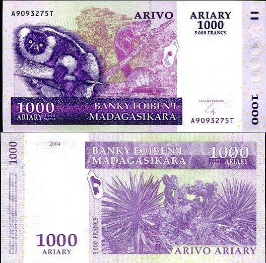 1000 Ariary=5000 Francs Madagaskar 2004