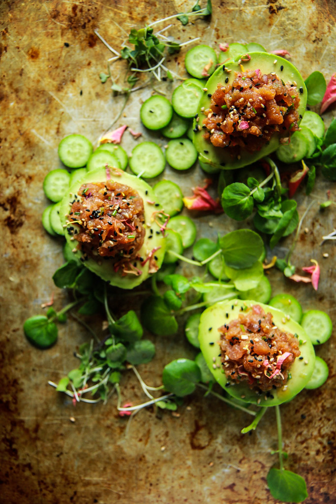 Spicy Tuna Stuffed Avocados from HeatherChristo.com