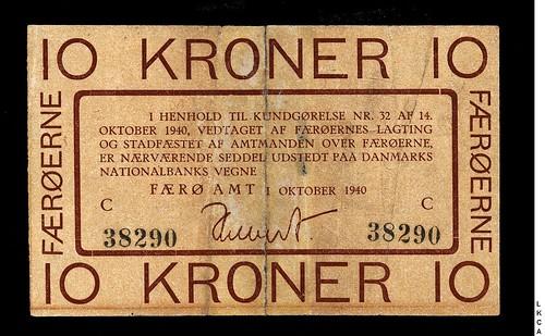 1940 Faeroe Island 10 Kroner banknote