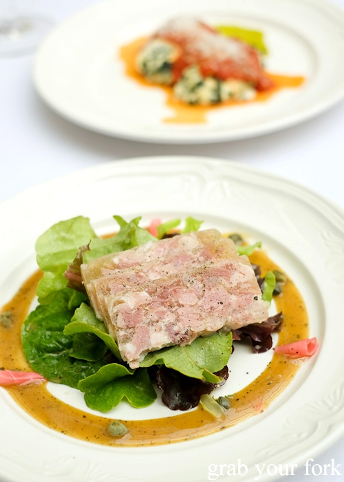 Pork hock terrine at Geoff Jansz Farm Table Restaurant, Mittagong