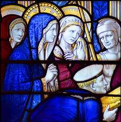 Three Marys watch an English sailor help Christ carry his cross (detail, Ninian Comper, 1920)
