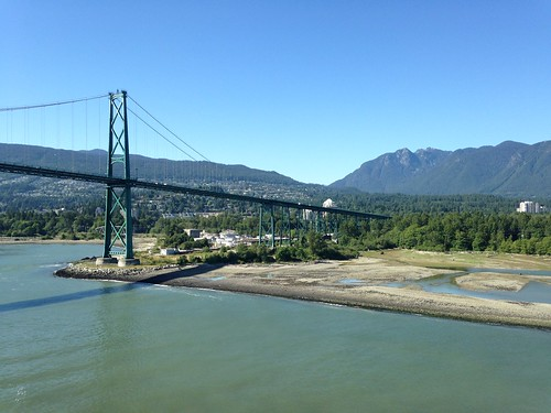 Leaving Vancouver under the Lions Gate Bridge