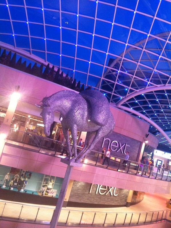 Trinity Leeds shopping centre at night