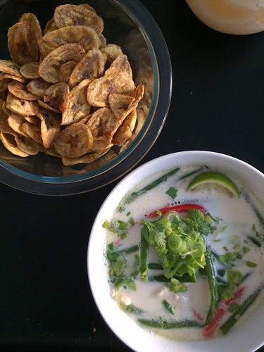 plantain chips and Tom Kha Gai Thai coconut soup