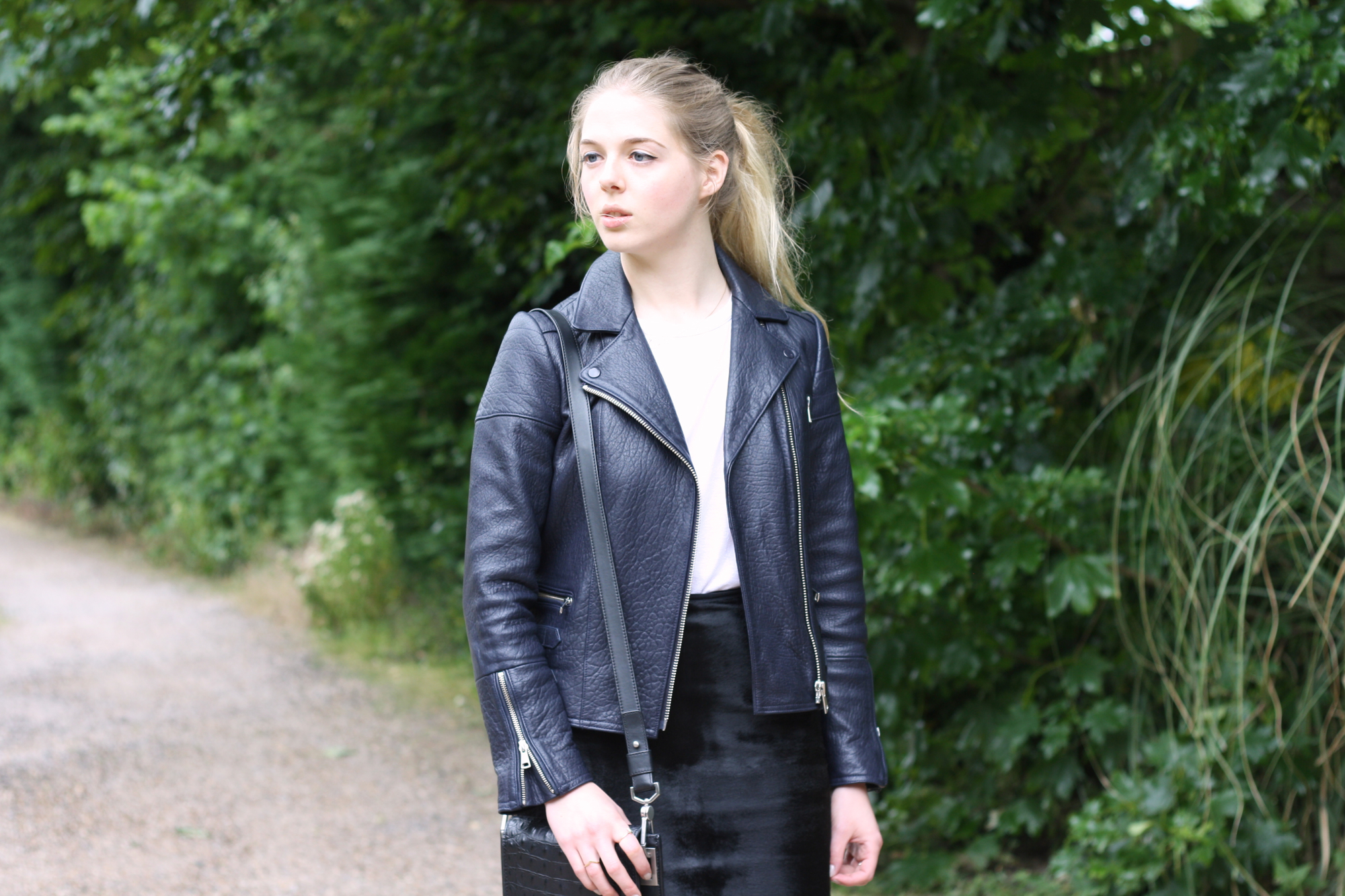 Whistles Axel bubbleskin leather navy jacket