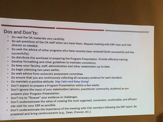 List of do's and don'ts for going the the ALA accreditation review. #alise17