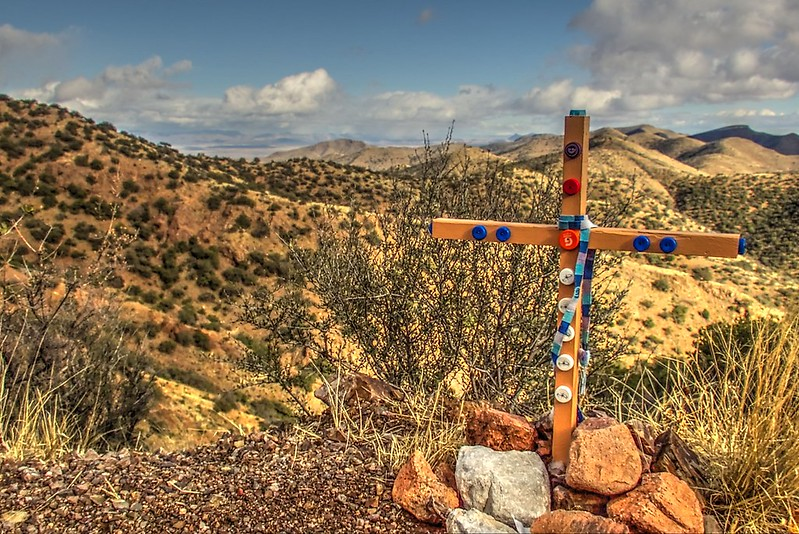 Bottle Cap Cross - Juniper Flats, Cochise County, Arizona