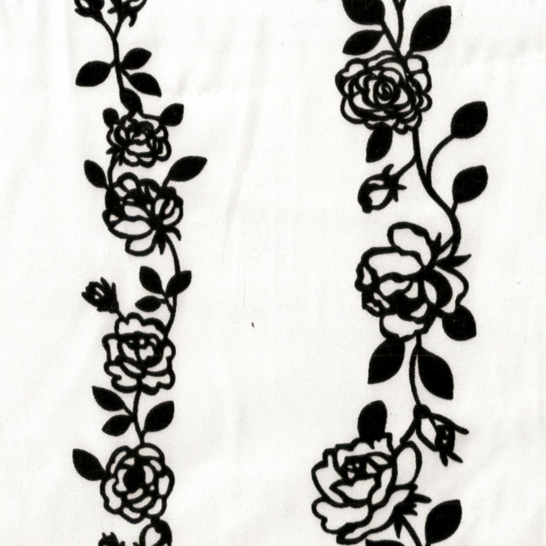 白底植絨玫瑰花 下襬花 洋裝 套裝 裙子 服裝布料CH1890009