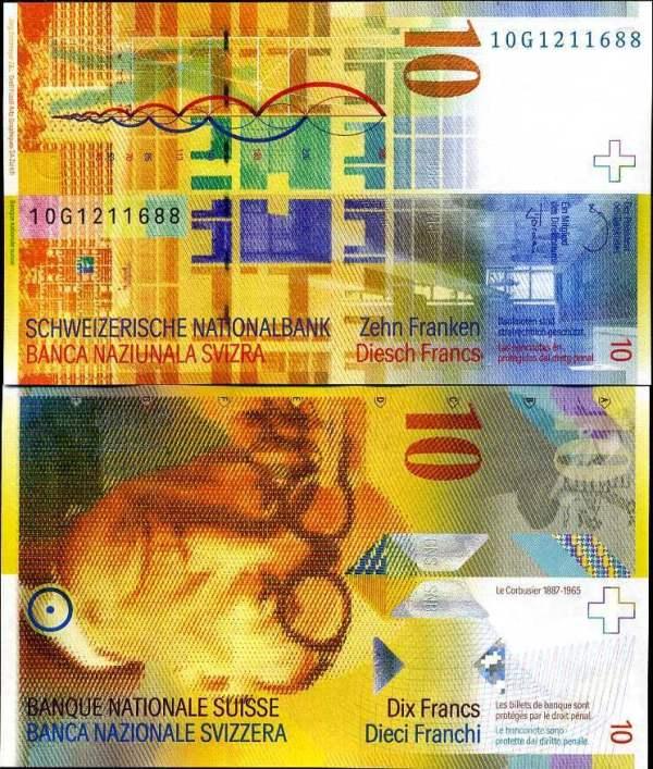 10 frankov Švajčiarsko 2010, Pick 67