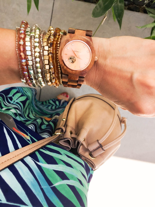 cute & little blog | petite fashion | jord wooden watch cora rose gold, beaded bracelets, express tropical maxi, taupe bucket bag | spring summer accessories