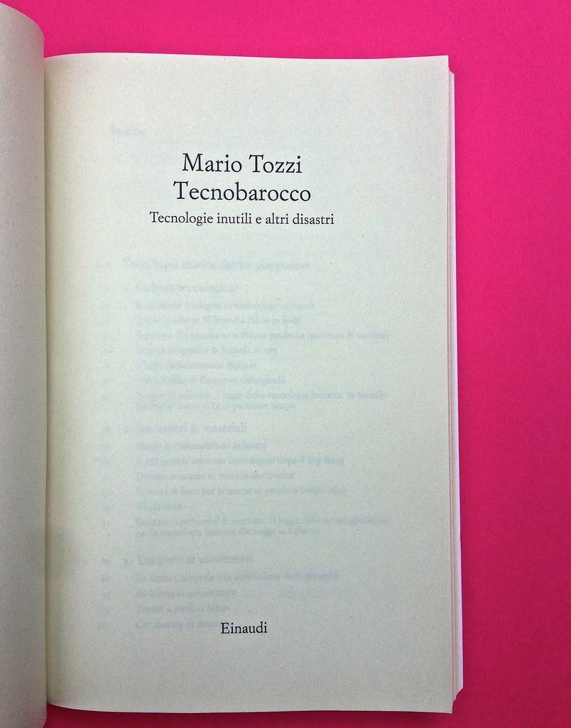 Mario Tozzi, Tecnobarocco. Einaudi 2015. Responsabilità grafica non indicata [Marco Pennisi]. Frontespizio, a pag. III (part.), 4