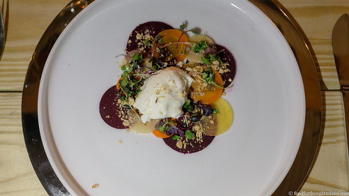 root vegetable antipasto, goat cheese gelato, rye crumble | by frodnesor