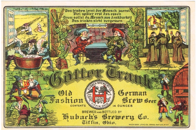 Gotter-Trank-Old-Fashion-German-Brew-Beer-Labels-Hubachs-Brewery-Co