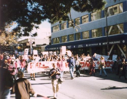 Prop 209 Protest March Down Bancroft Way Berkeley 1996-11-06