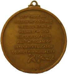 Wanamaker medal reverse