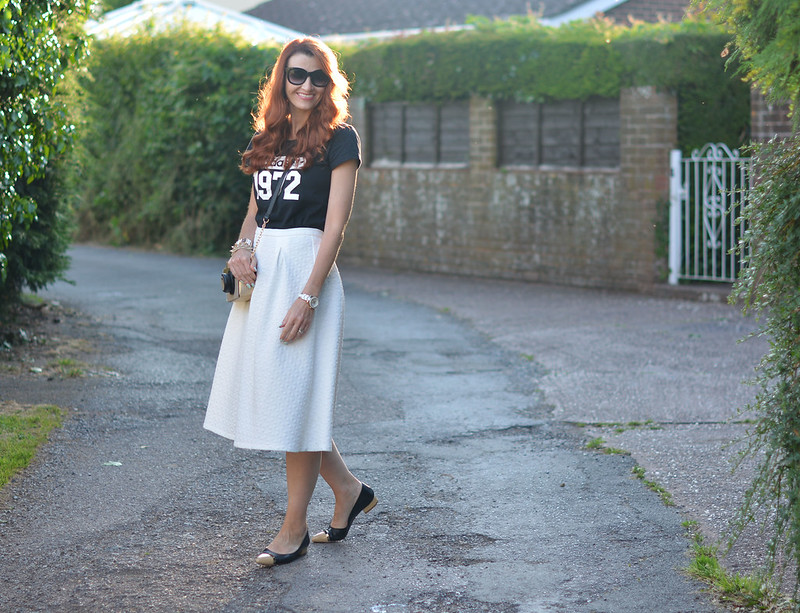 Graphic Adidas t-shirt, white midi, pointed flats