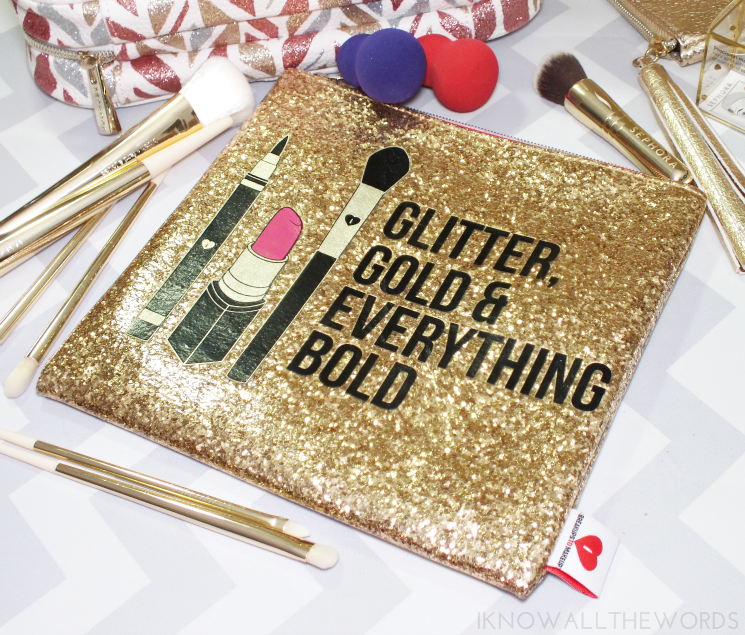 sephora collection breakups to makeup glitter gold clutch
